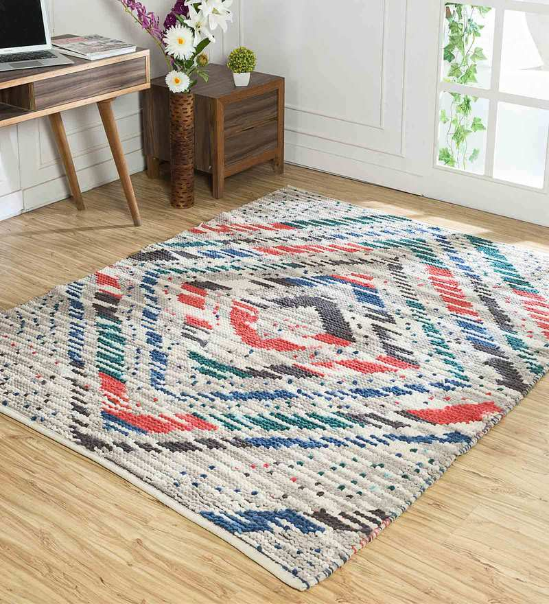 Geometric Pattern Jute 5x8 Feet Hand Woven Flat Carpet