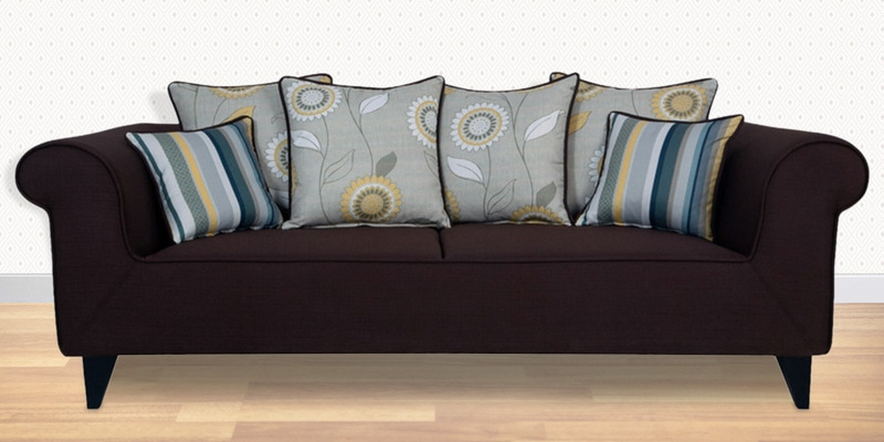 Gilberto Three Seater Sofa with Cushions in Chestnut Brown Colour by CasaCraft