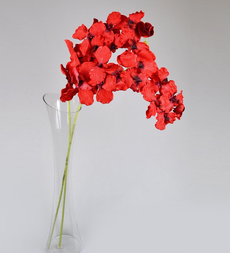 Red PVC & Synthetic Artificial Vanda Orchid by Ginni Bloom