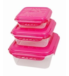 Gkw Pink Polypropylene Food Storage Containers - Set Of 3