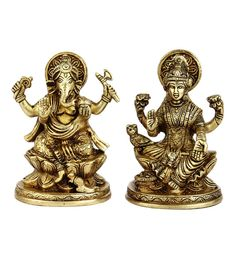 Glossy Brass Hindu Gods Goddess Ganesh Laxmi Pair Statue Idol - Set Of 2