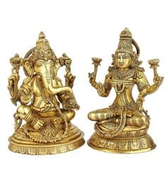 Glossy Brass South India Style Lord Ganesha Laxmi Jewellery Statue - Set Of 2