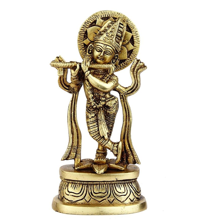 Glossy Brass India Made Hand Carved Small Miniature Hindu God Lord Krishna Statue Idol by Statue Studio