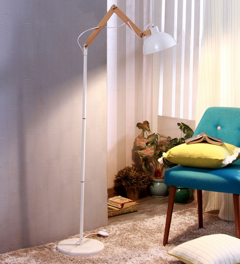 Glowbox White Metal Floor Lamp