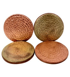 Gold & Brown Copper & Brass Coasters - Set Of 4