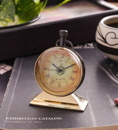 Gold Brass & Acrylic Table Clock - 1727673