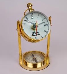 Gold Brass 3.5 X 3.5 X 7.1 Inch Vintage Desk Clock