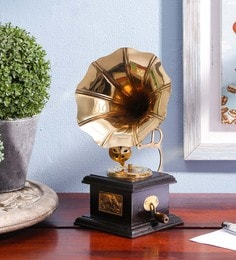 Gold Wood Brass Gramophone