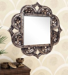Golden Black Engineered Wood Wall Mirror By Home Sparkle - 1621392