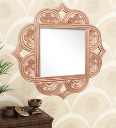 Golden Engineered Wood Wall Mirror By Home Sparkle