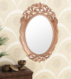 Golden Engineered Wood Wall Mirror By Home Sparkle - 1621383