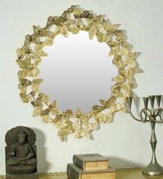 Golden Glass And Metal Butterfly Wall Mirror