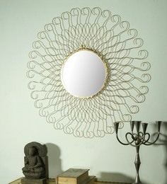 Golden Glass And Metal Cooper Wall Mirror