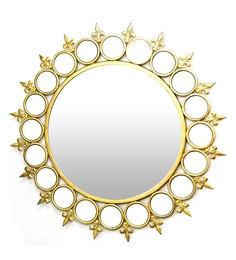 Golden Glass And Metal Ring Wall Mirror