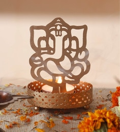 Golden Metal Decorative Shadow Divine Lord  Ganesha Ganpati Ji Tealight Candle Holder Light With Tealight