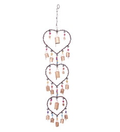 Golden Mild Steel & Brass Mild Steel & Brass Heart Wall Hanging Wind Chime