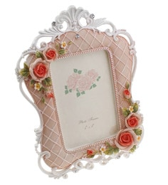 Golden Peacock Pink Resin &  PVC Plastic Personalised Antique Floral Photo Frame