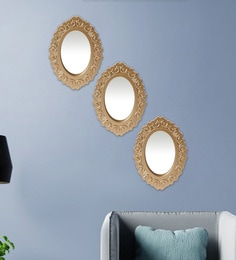 Golden Plastic Decorative Oval Shape Wall Mirror - Set Of 3