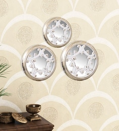 Golden White Engineered Wood Wall Mirror - Set Of 3 By Home Sparkle - 1621375