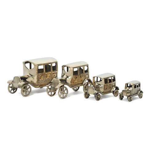 Gold Brass Vintage Car Set of 4 Automobile Miniature by Zahab