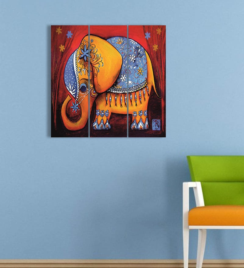 MDF 18 x 18 Inch 3-Panel Elephant Wall Decor by Go Hooked