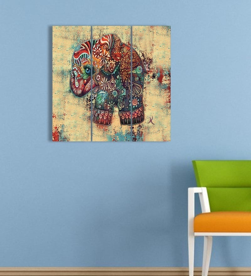 MDF 18 x 18 Inch 3-Panel Art Elephant Wall Decor by Go Hooked