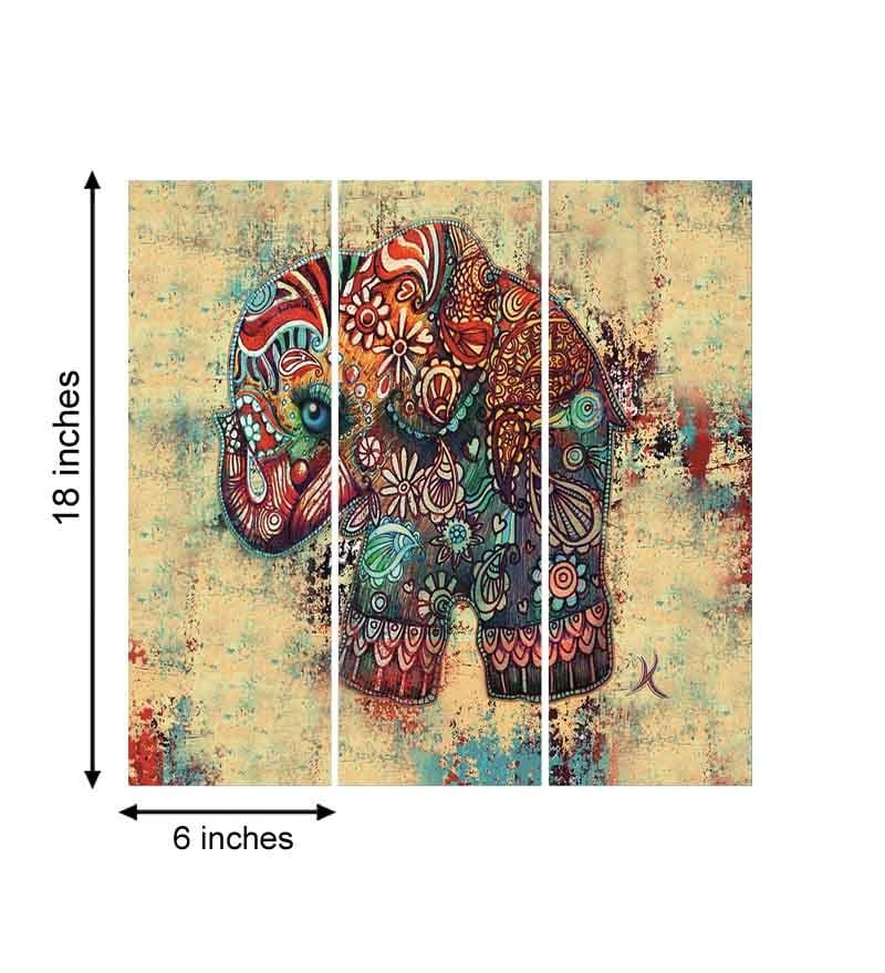 Buy go hooked mdf 18 x 18 inch 3 panel art elephant wall for Best brand of paint for kitchen cabinets with abstract panel wall art