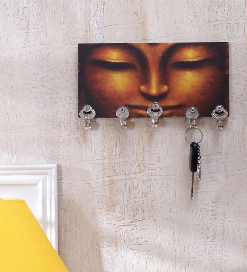 Black & Gold MDF Buddha Designer Lightweight Key Holder by Go Hooked