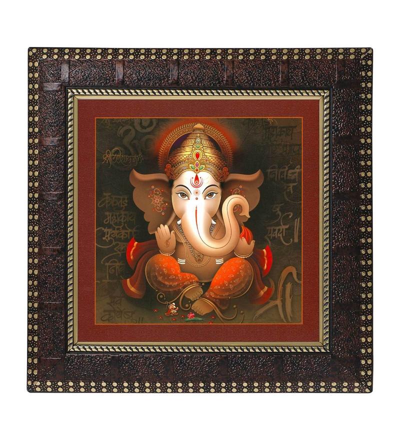 MDF 12 x 1 x 12 Inch Ganesha Modern Framed Art Print by Go Hooked