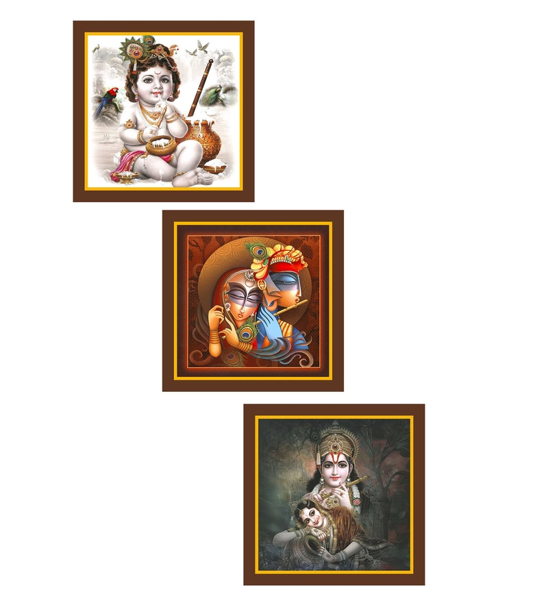 MDF 9 x 0.8 x 9 Inch Lord Krishnaa Framed Art Print - Set of 3 by Go Hooked