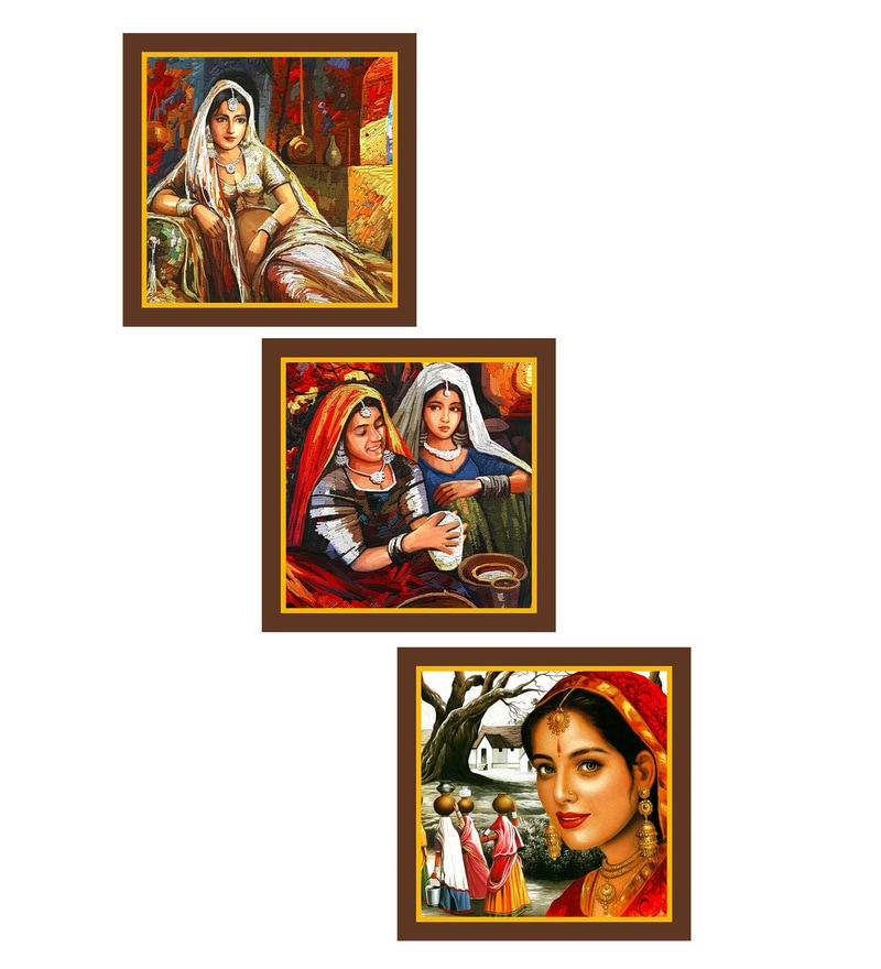 MDF 9 x 0.8 x 9 Inch Rajasthani Framed Art Print - Set of 3 by Go Hooked