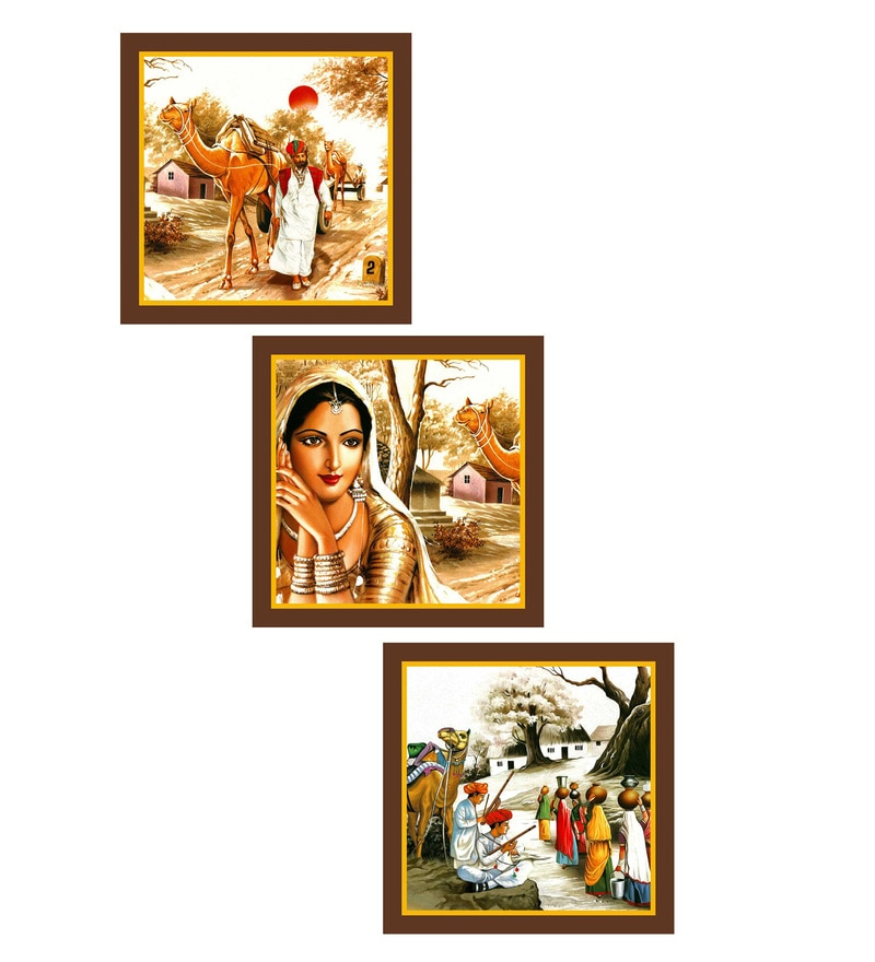 MDF 9 x 0.8 x 9 Inch Tribal Rajasthani Framed Art Print - Set of 3 by Go Hooked