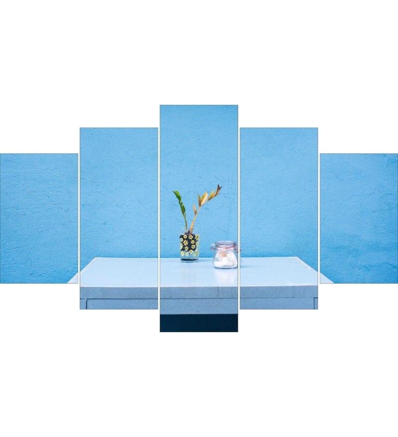 MDF Blue Theme Framed Art Panel - Set of 5 by Go Hooked