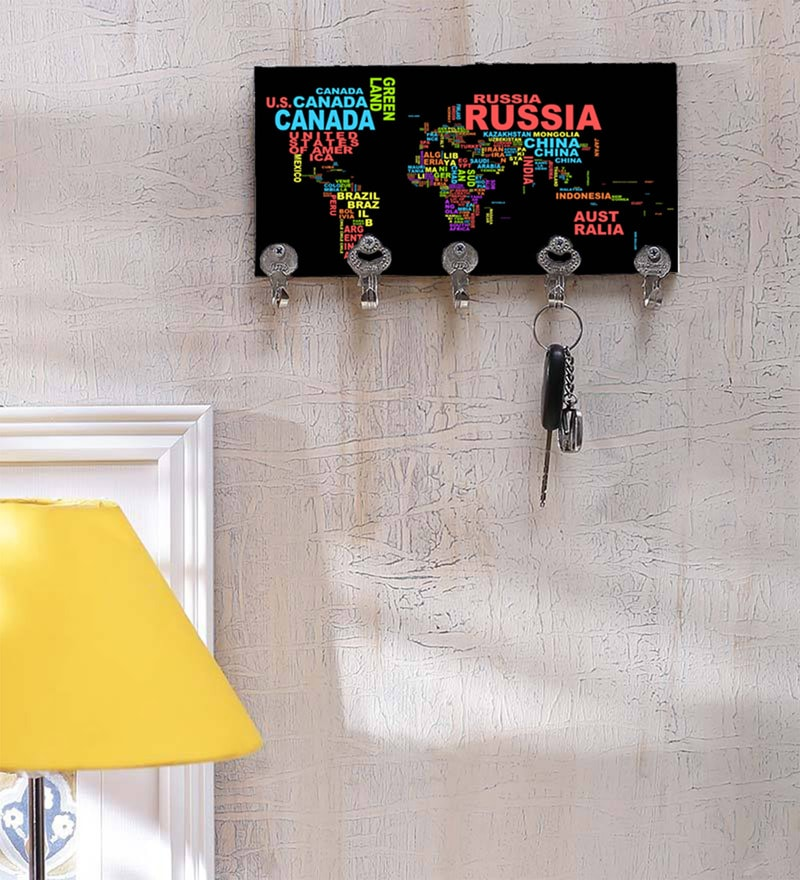 Multicolour MDF Designer Key Holder by Go Hooked