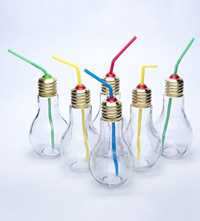 Godskitchen Bulb Shape Glass 180 ML Jar with Straw - Set of 4