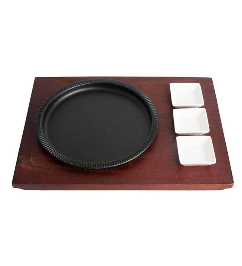 Godskitchen Ceramic Round Sizzler Platter With 3 Bowl & Wooden Base