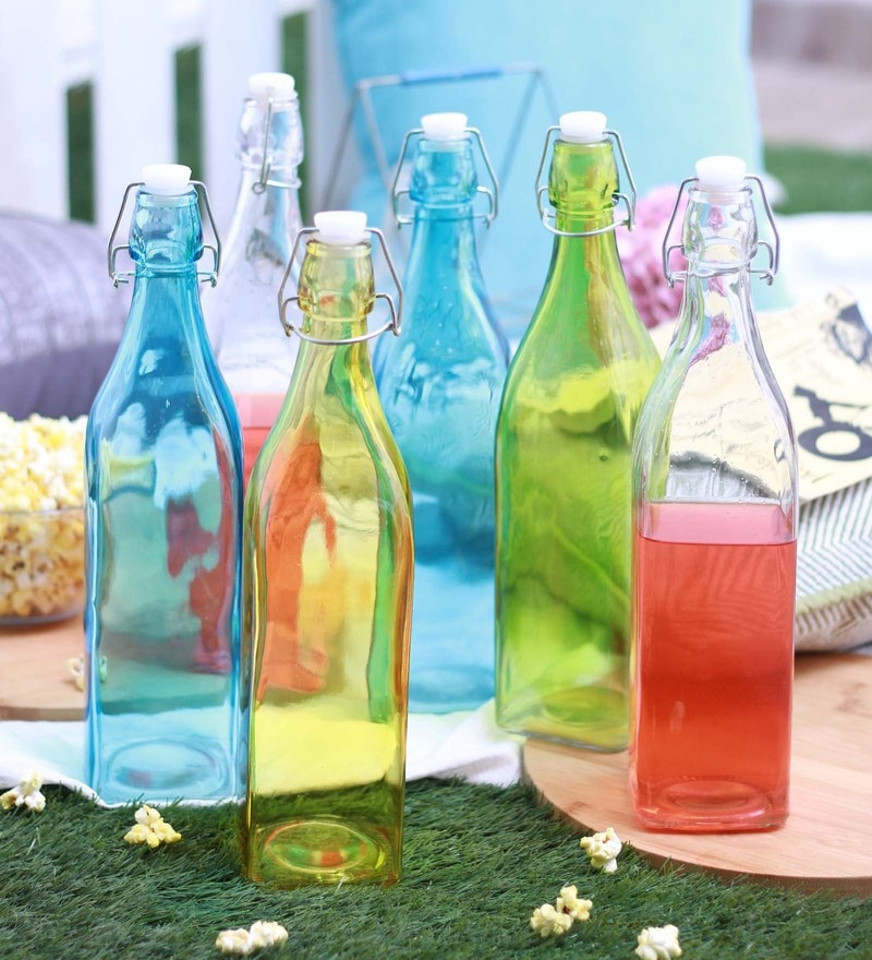 Godskitchen Multicolour Glass Bottles - Set of 6 Assorted