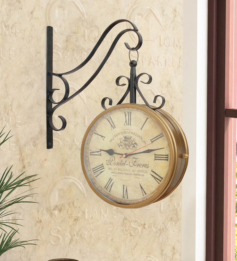 Gold & Black Mild Steel 13 x 4 x 15 Inch Two Sides Station Clock by Home Sparkle