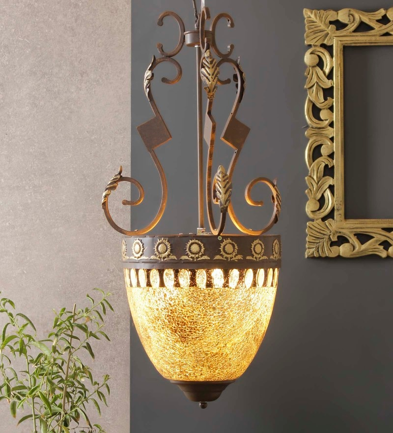 Gold and Brown Aluminium and Glass Pendant by Jainsons Emporio