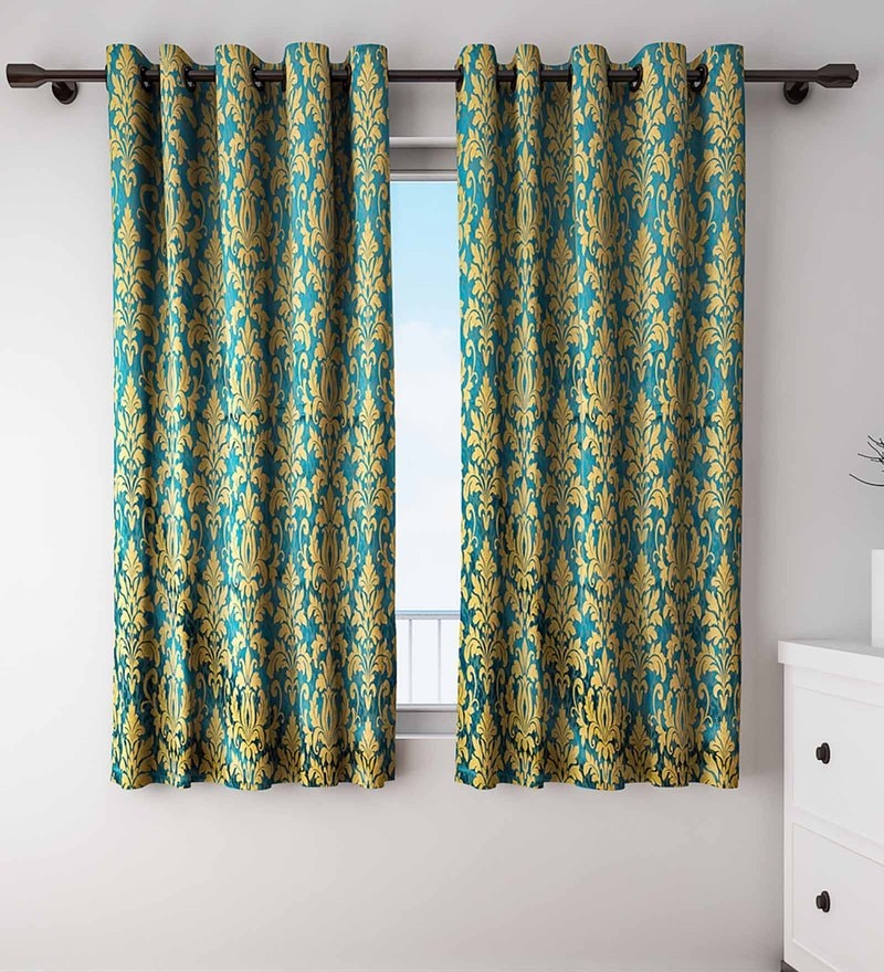 Gold and Green Polyester Window Curtains - Set of 2 by S9 home by Seasons