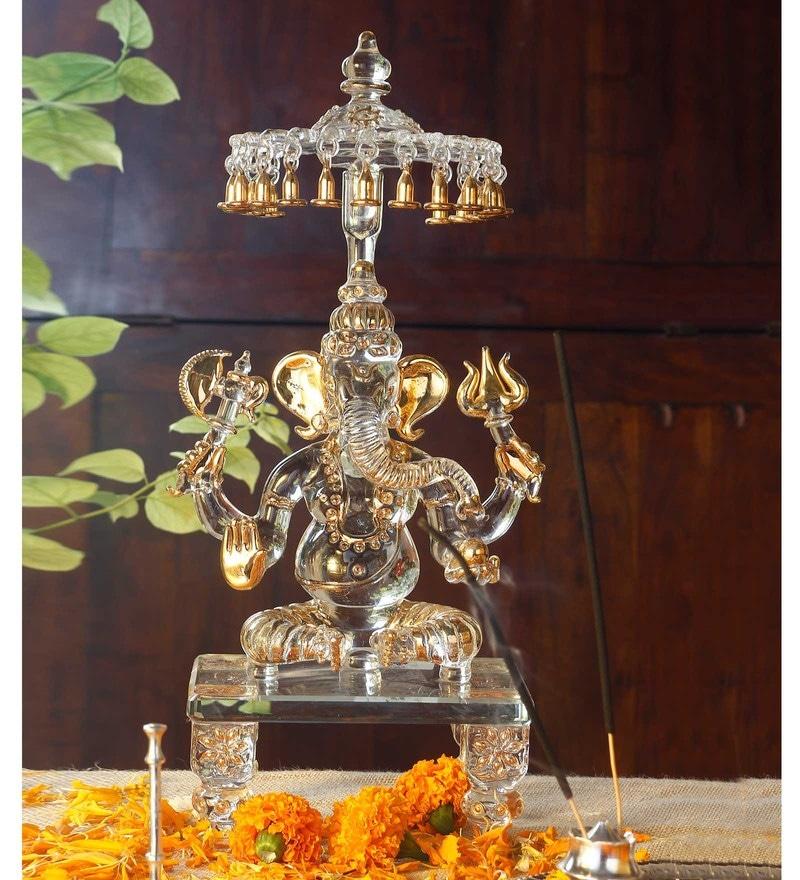 Gold Glass Chowki Chatra ganesha God Idol by Anasa