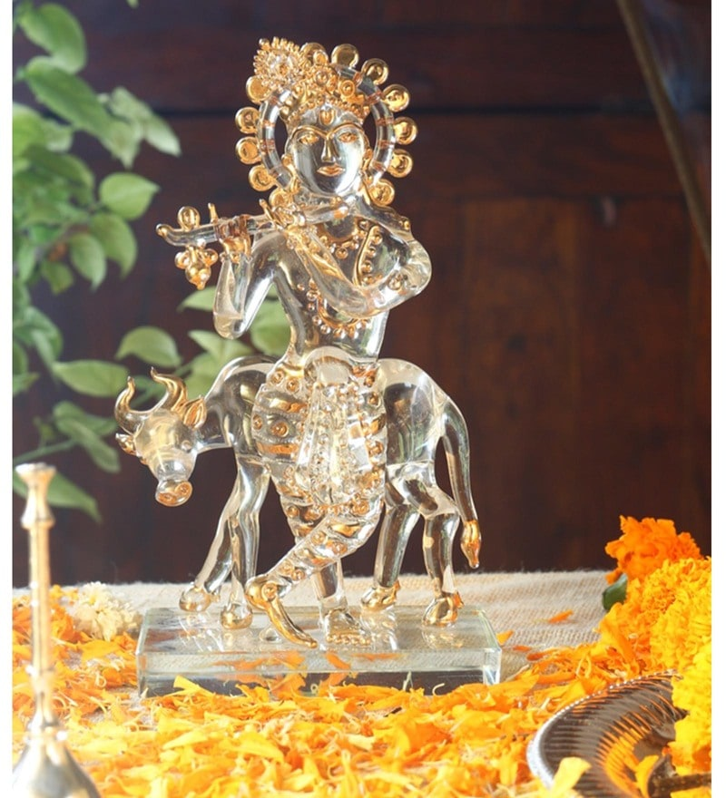 Gold Glass krishna with cow God Idol by Anasa