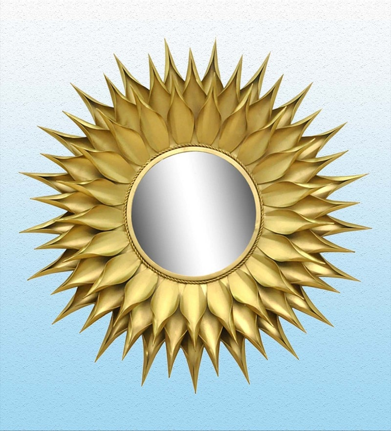 Gold Iron Sunflower Mirror by Logam