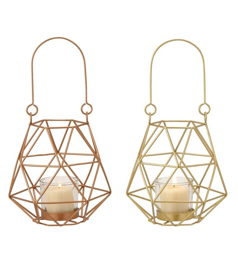 Gold Iron Triangle Cage Tea Light Holder by Qesyas