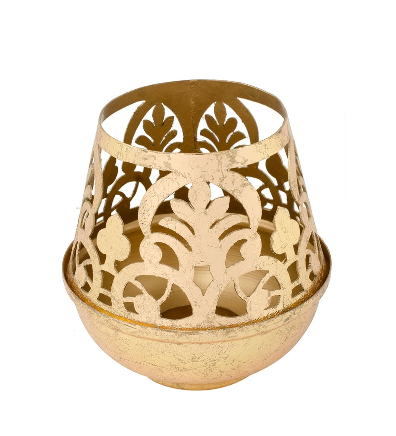 2f9eb6dc11 Buy Gold Metal & Wax Lotus Etched Tea Light Holder With Gifting Box ...