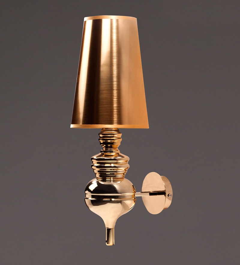Gold Metal and Fabric Wall Light by Voylite