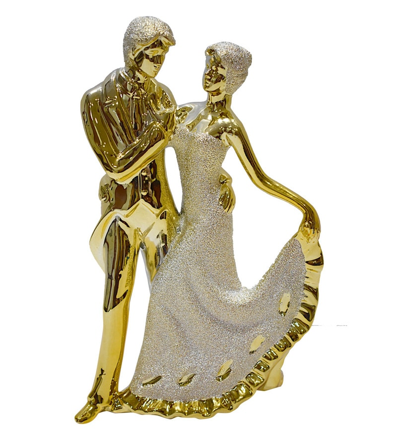 Gold Polyresin Golden Couple Dancing Figurine by Gallery99