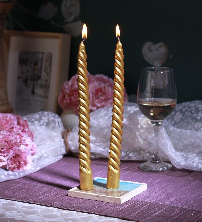Gold Wax Spiral Candles Set of 2 by Aroma India