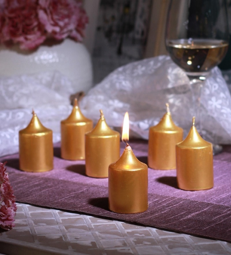 Gold Wax Unscented Votive Candles Set of 6 by Aroma India