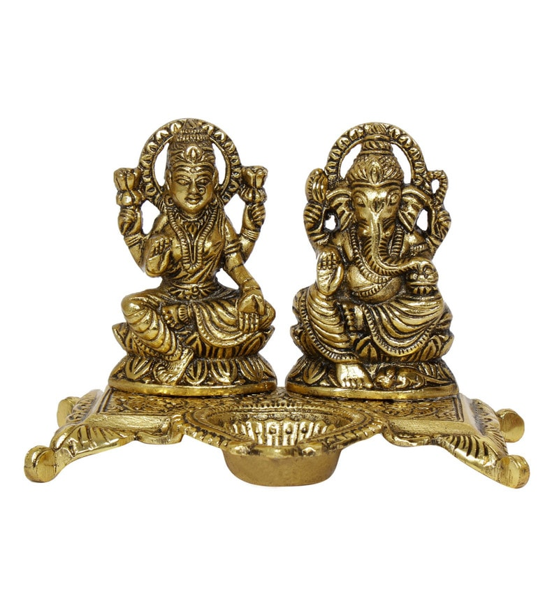 Golden Aluminium Laxmi Ganesha with Diya Idol by GAC Trend